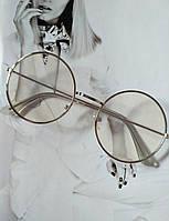 Круглые имиджевые очки тишейды  с анти блик №3 Серебро