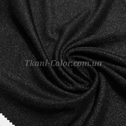 Креп-дайвинг трикотаж металлик черный, фото 2