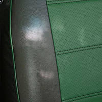 Чехлы на сиденья Пежо 307 (Peugeot 307) (модельные, 3D-ромб, отдельный подголовник) черно-зеленый