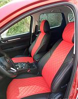 Чехлы на сиденья Пежо 407 (Peugeot 407) (модельные, 3D-ромб, отдельный подголовник) черно-красный