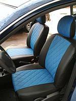 Чехлы на сиденья Пежо 407 (Peugeot 407) (модельные, 3D-ромб, отдельный подголовник) черно-синий
