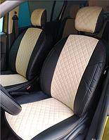 Чехлы на сиденья Пежо 407 (Peugeot 407) (модельные, 3D-ромб, отдельный подголовник) черно-бежевый