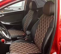 Чехлы на сиденья Пежо 407 (Peugeot 407) (модельные, 3D-ромб, отдельный подголовник) черно-коричневый