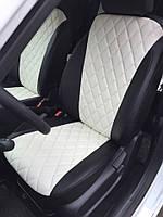 Чехлы на сиденья Пежо 407 (Peugeot 407) (модельные, 3D-ромб, отдельный подголовник) черно-белый