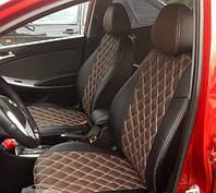 Чехлы на сиденья Субару Аутбек (Subaru Outback) (модельные, 3D-ромб, отдельный подголовник) черно-коричневый, фото 1