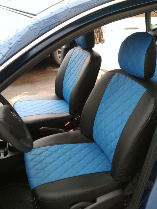 Чехлы на сиденья Субару Форестер (Subaru Forester) (модельные, 3D-ромб, отдельный подголовник) черно-синий