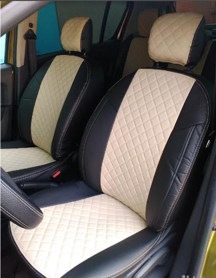 Чехлы на сиденья Субару Форестер (Subaru Forester) (модельные, 3D-ромб, отдельный подголовник) черно-бежевый, фото 1