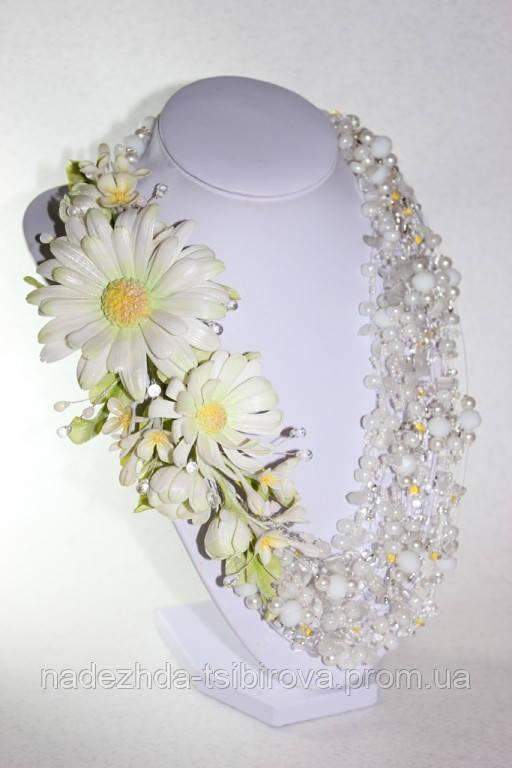 """Ожерелье """"Солнечный цветок"""". Авторские работы, украшения из цветов. Hand Made."""