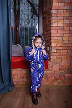 Детский комбинезон  демисезонный для девочки с капюшоном синий Хит Новинка 2019-2020, фото 2