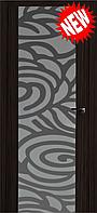 Межкомнатная дверь  ТМ Галерея дверей  Милано-2 ,  рис. Индиго, полотно остекленное