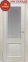 Межкомнатная дверь  ТМ Галерея дверей  Пассаж Белая эмаль Витраж, полотно остекленное