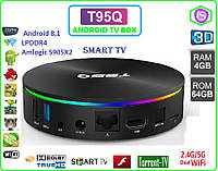 T95Q 4 GB 64 GB Android 8,1 LPDD Android tv 4ядра  LAN USB Audio-out пульт +НАСТРОЙКИ I-SMART, фото 1