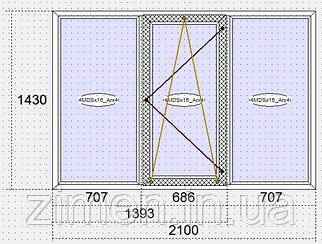 Окно Steko 2100*1400 тройное