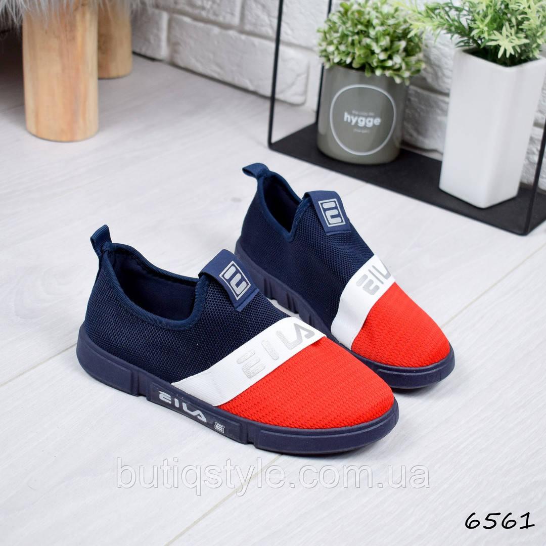 37, 38 размер Женские кроссовки FS красный + синий текстиль, удобные и мягкие