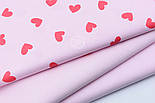 Хлопковая ткань с сердечками красного цвета на розовом фоне (№1907), фото 6
