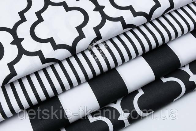Бязь с восточным рисунком чёрным на белом