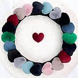 Женские фетровые тапочки с сердечками из эко - меха кролика (синего цвета), фото 3