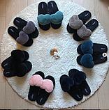 Женские фетровые тапочки с сердечками из эко - меха кролика (синего цвета), фото 2