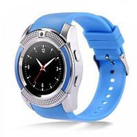Подарок + Умные часы SMART WATCH V8 телефон сенсорные, голубые