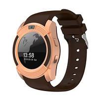 Подарок + Умные часы SMART WATCH V8 телефон сенсорные, коричневые.
