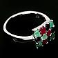 Изумруд, рубин и сапфир, серебро 925, кольцо, 1473КЦС, фото 2