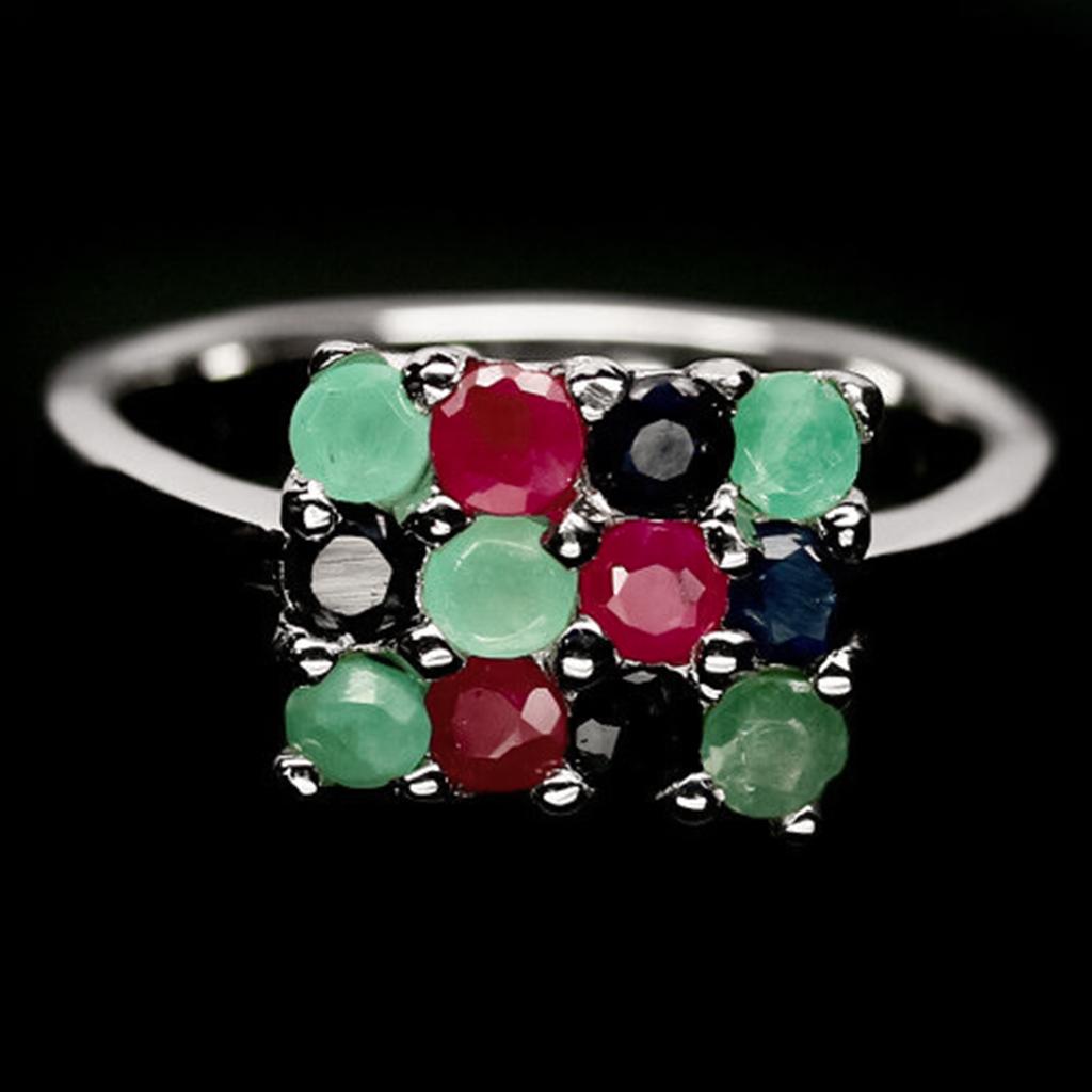 Изумруд, рубин и сапфир, серебро 925, кольцо, 1473КЦС