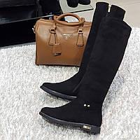 Ботфорти чоботи жіночі зимові з штучної замші та штучного хутра на плоскій підошві чорні