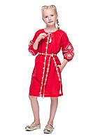 Детское вышитое платье  Иванна красный лен  рост 116-158 см