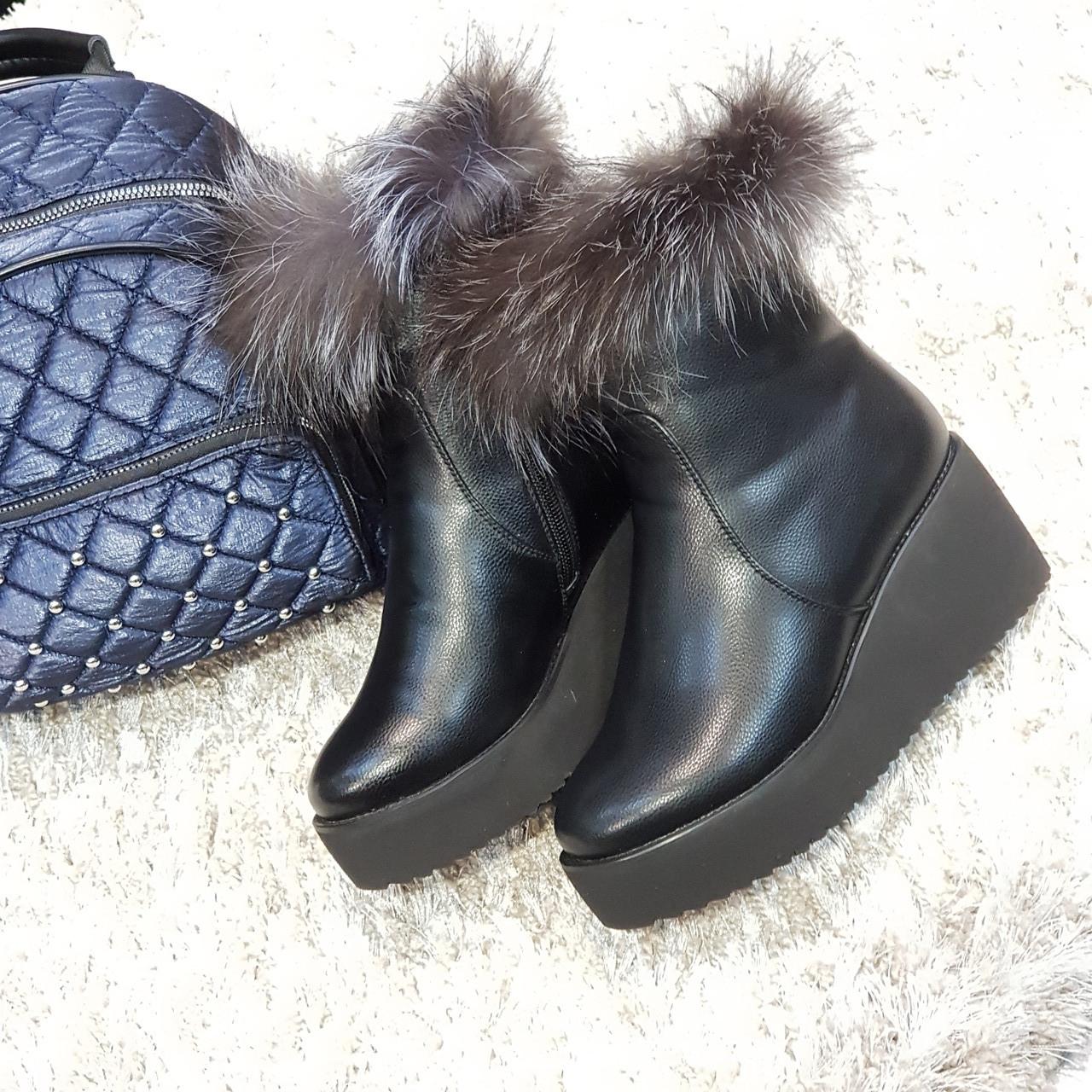 Полусапоги женские зимние искусственная кожа и искусственный мех черные на платформе
