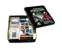 Покерний набір на 100 фішок з номіналом в металевій коробці