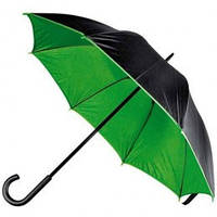 Черно-зеленый зонт-трость, двухцветный, 5 цветов, с нанесением логотипов, для рекламы
