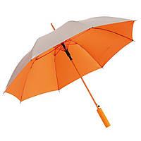 Оранжевый зонт-трость, автоматический, рекламный, качественный, под нанесение логотипов, фото 1