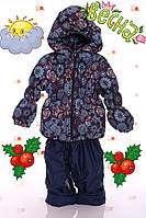 """Демисезонный костюм  модель """"Крошка""""  синий в снежинку"""
