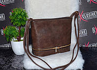 Стильная коричневая сумочка с молнией., фото 1
