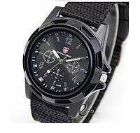 Кварцевые военные часы черный ремешок, черный циферблат