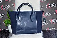 Стильная синяя женская КОЖАНАЯ сумка., фото 1