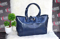 Женская кожаная сумка синяя, двухсторонняя, фото 1