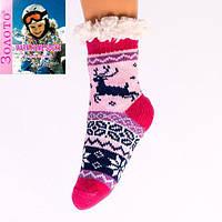 Детские розовые теплые домашние полушерстяные тапочки-носочки с антискользящей поверхностью.