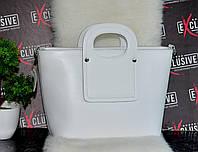 Женская белая кожаная сумочка., фото 1