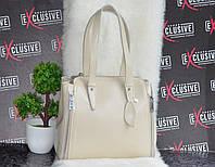 Кожаная женская сумка бежевого цвета, фото 1