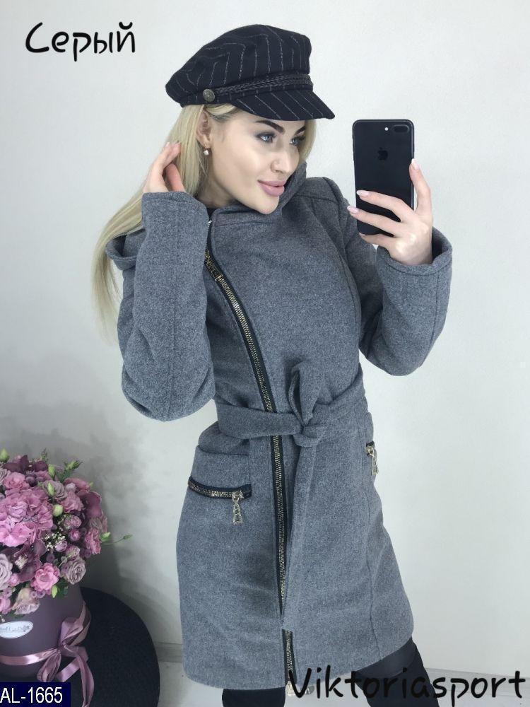 Женское модное пальто с капюшоном