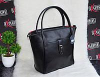 Женская кожаная сумка с красной подкладкой., фото 1