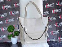 Бежевая женская кожаная сумка с цепочкой., фото 1
