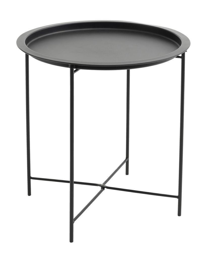 Столик круглый черный из метала диаметр 47см