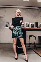"""Кожаная мини-юбка """"DROP"""" с воланом (5 цветов), фото 3"""