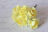 Бумажные цветочки розы 6 шт/уп. 3 см для скрапбукинга светло-желтого цвета, фото 1