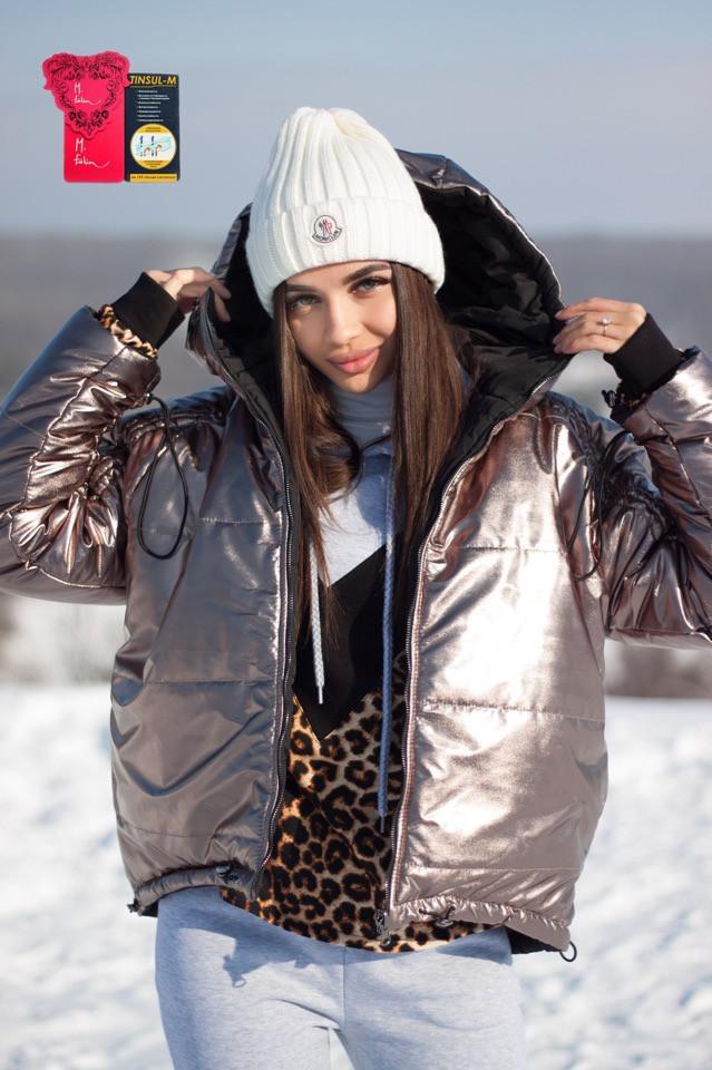 15d5a4c9e99 Нереальная Куртка Женская Короткая двухсторонняя демисезон черная   коричневый глянец