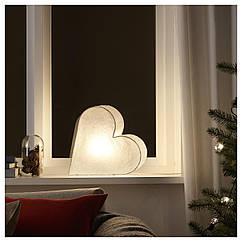 Светодиодная фигура IKEA STRÅLA 30 см белое сердце 204.066.45