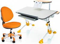 Комплект парта и кресло Mealux Orion + Vena столешница береза, цвет накладок оранжевый