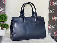 Женская синяя КОЖАНАЯ сумка в деловом стиле., фото 1